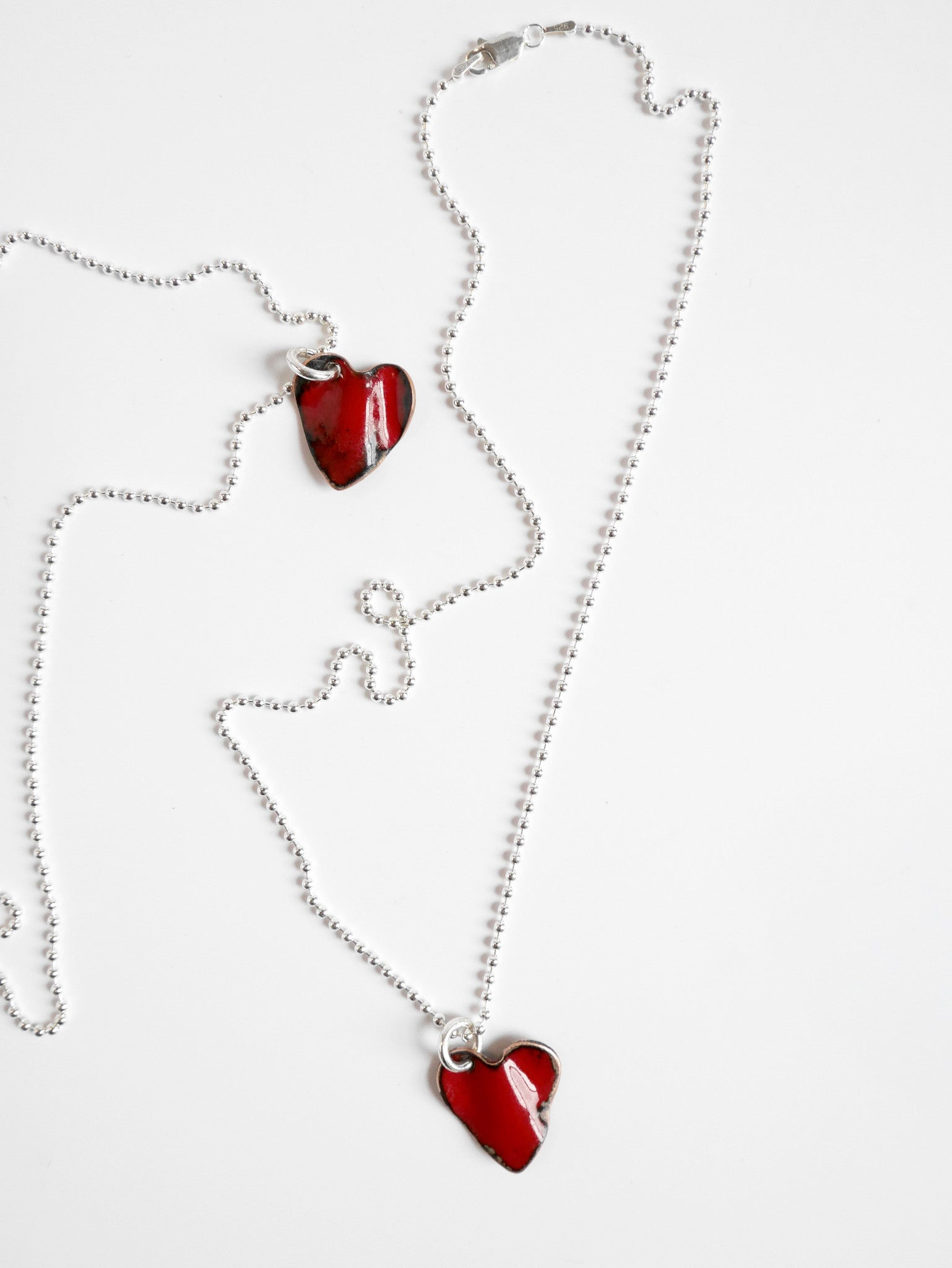 Crushed Enamel Heart Necklace - Single