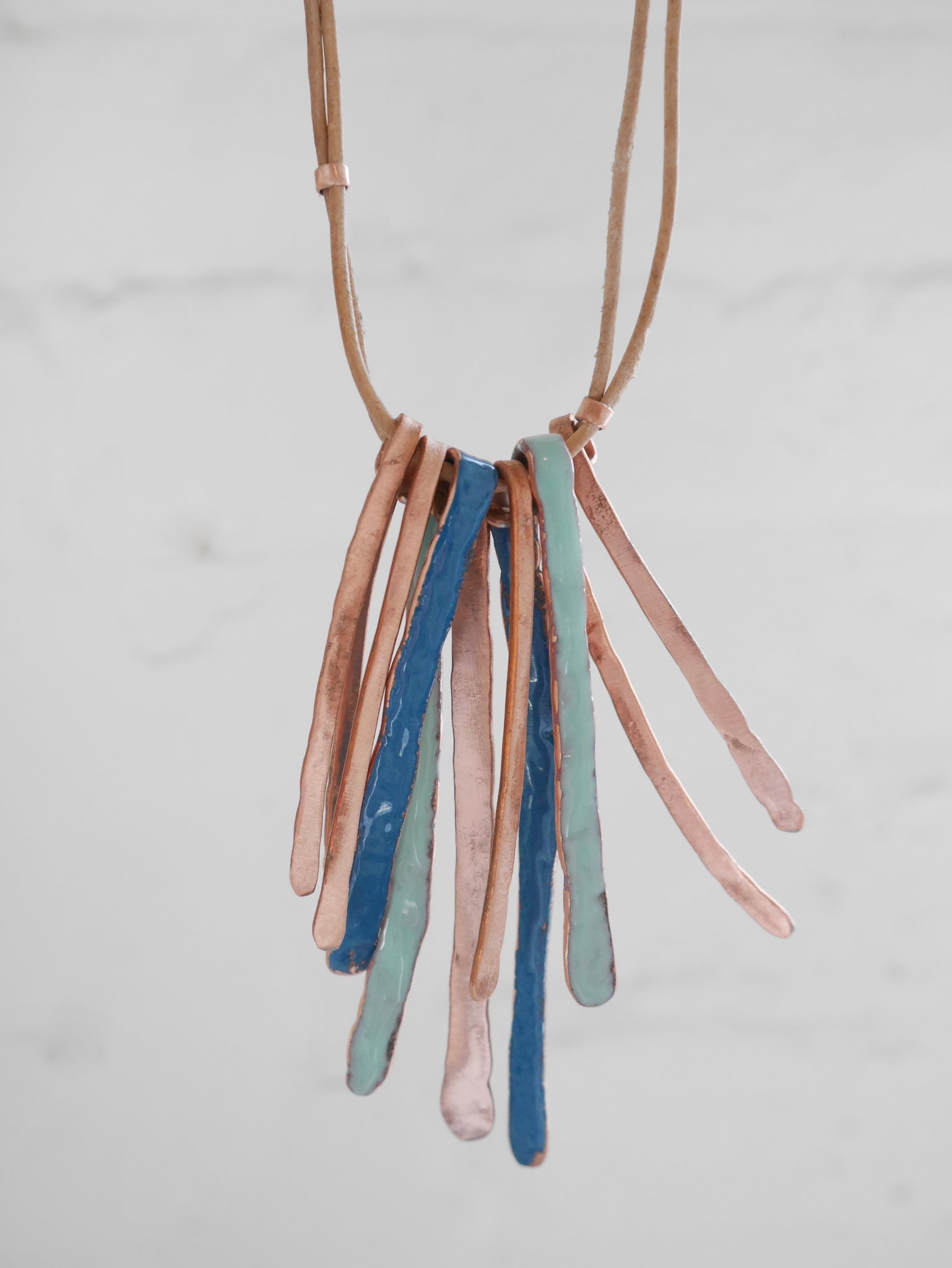 Enamel Rustic Fringe Necklace (blues and copper)