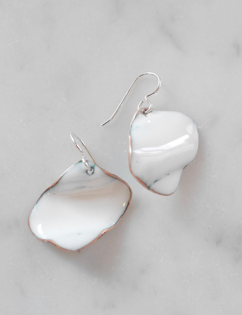 Crushed White enamel earrings