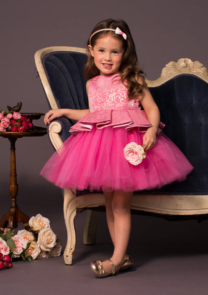 TC1700D Aurora - Brocade Peplum Bodice Romantic Tutu Dress