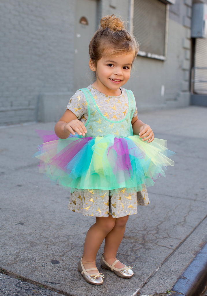 TC2260D Tinkerbell - French Terry Dress with Detachable Apron Tutu Dress