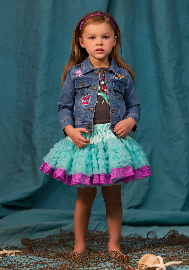 TC1827D Ariel - 3PC Set Short Sleeve Graphic Tee & Reversible Petti Skirt & Patched Denim Jacket