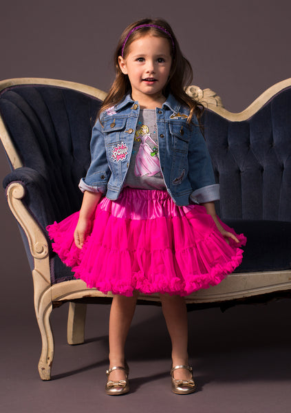TC1807D Aurora - 3PC Set Short Sleeve Graphic Tee & Reversible Satin & Tulle Petti Skirt & Patched Denim Jacket