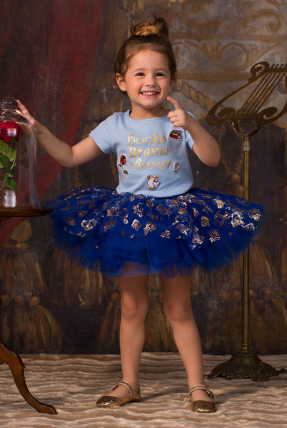 TC1727D Belle 2PC Set Short Sleeve Graphic Tee & Short Length Romantic Tutu Skirt