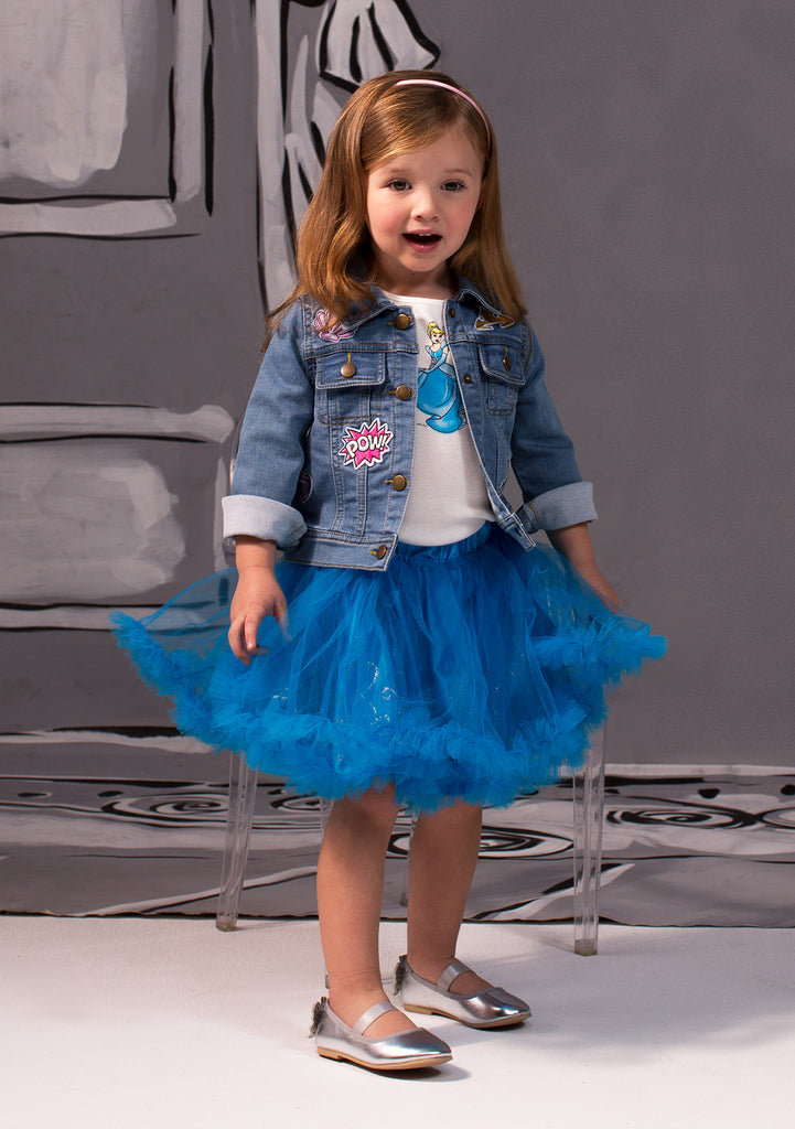 TC1797D Cinderella - 3PC Set Short Sleeve Graphic Tee & Romantic Tutu Skirt w/ Ruffles at Hem & Patched Denim Jacket