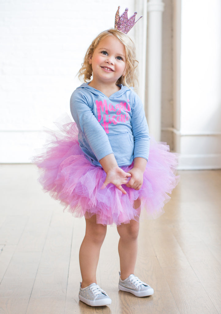 TC1009 2 PC Set Slub Long Sleeve Hoodie and Glitter Classic Tutu Skirt