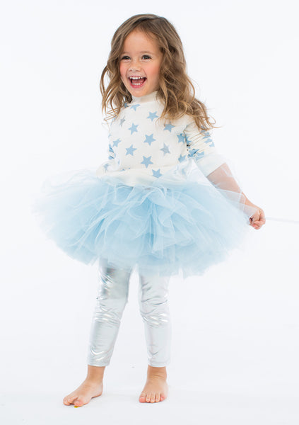 TC2159 3PC Set French Terry Raglan Sleeve Sweatshirt, Short Romantic Tutu Skirt & Metallic Foil Leggings