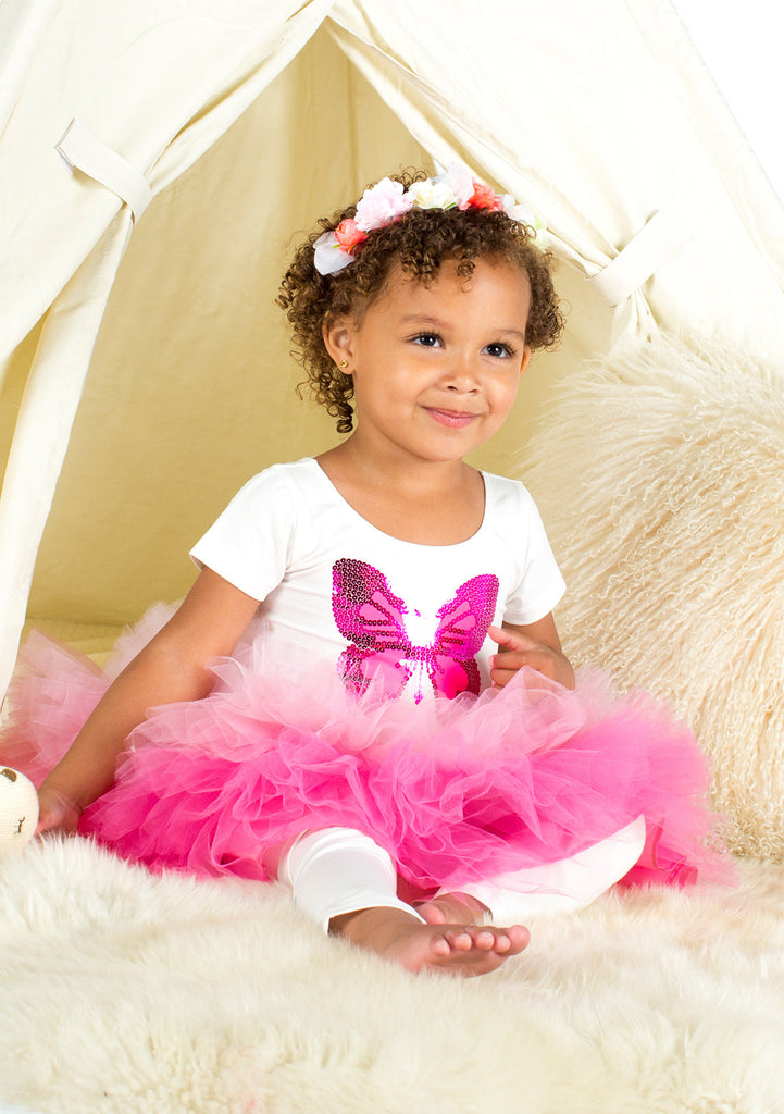 TC1867T 3 PC Set Short Sleeve Tee & Tiered Classic Tutu Skirt & Printed Leggings