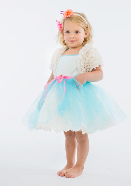 TC2200 2PC Set Cotton Eyelet Tulle Overlay Tutu Dress and Ruffled Bolero