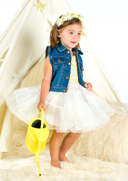 TC2250 2 PC Set Daisy Embroidery Petti Dress and Denim Vest