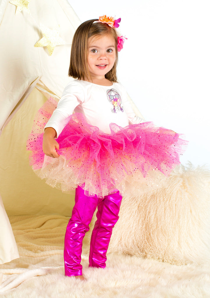 TC1767 3 PC Set Long Sleeve Bodysuit, Reversible Glittered Romantic Tutu Skirt and Long Foil Leggings