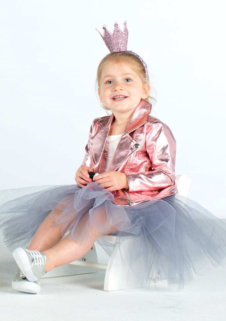 TC3887T/G 2PC Set Short Sleeve Bodysuit & Romantic Tutu Skirt w/ Built-n-Sequin Short