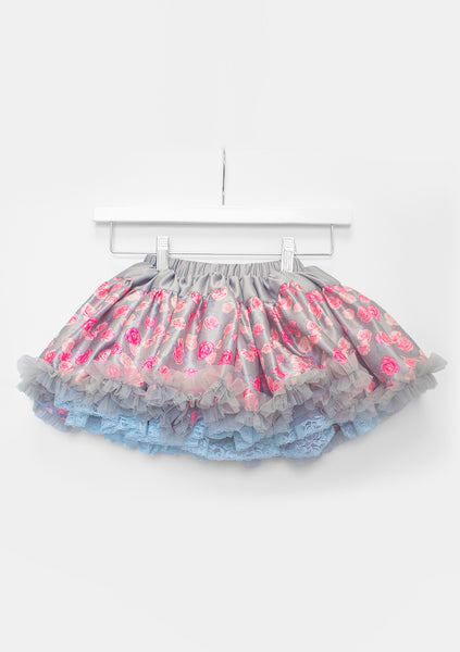 TC1827S -Reversible Layered Tricot & Satin with Lace Petti Skirt