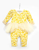 TC2763DB Baby Belle 2PC Set Tutu Coverall with Headband (YEL)