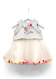 TC3360 French Terry Pompom Tutu Dress with Diaper Cover