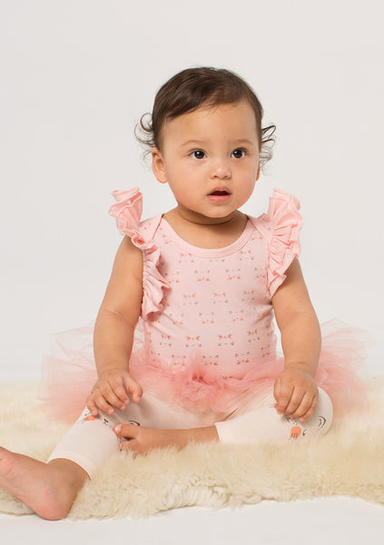 TC 3431 3PC Set Flutter Sleeve Bodysuit w/ Tutu Legging