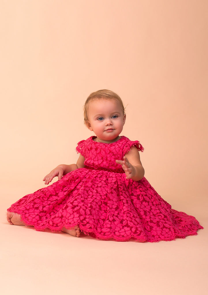 TC3530D Baby Belle Allover Lace Romantic Dress with Diaper Cover