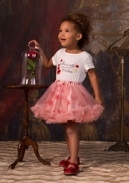 TC1797DB Belle 2PC Set Short Sleeve Graphic Tee & Romantic Tutu w/ Ruffled Hem & Printed Satin Lining