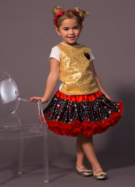 TC1807DM - Disney Minnnie Mouse 2PC Set Sequins Short Sleeve Tee & Reversible Satin & Tulle Petti Skirt
