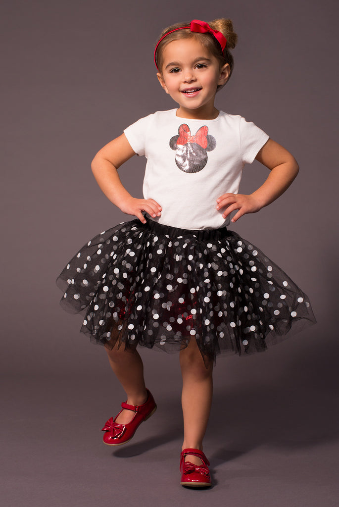 TC2187D - Disney Minnie Mouse 2PC Set Short Sleeve Graphic Tee & Romantic Tutu Skirt with Attached Sequin Short