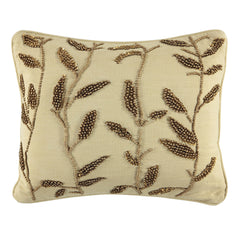 """Gold Leaves Beads Embroidery Decorative Pillow, 14"""" X 18"""""""