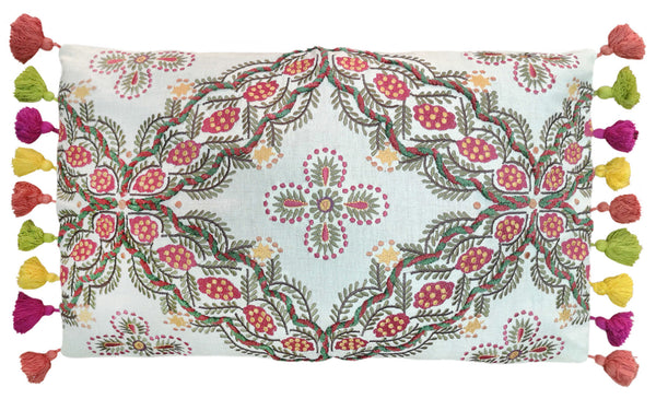 PI-1600-536 Leaves Embroidery Lumbar Pillow with tassels