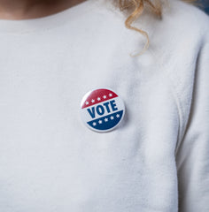 Lady with Vote pin
