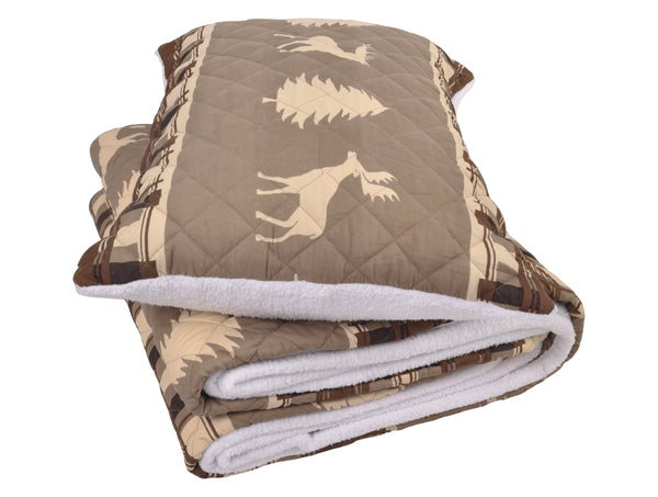 Colorado Woodland Microfiber Quilt Set Sherpa Back, King Size Mod Lifestyles