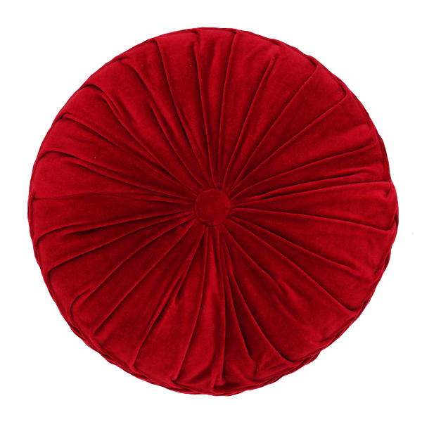 "Round Cross Overlapped Velvet Cushion, 16"" Diameter"
