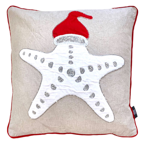 "Christmas Starfish Embroidery Beaded Pillow, 18"" X 18"" Mod Lifestyles"