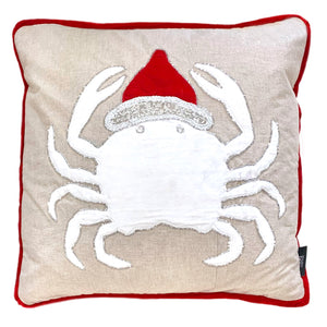 "Natural and Red Christmas Crab Embroidery Beaded Pillow, 18"" X 18"""