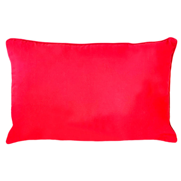 "Red Christmas Gold Snowflakes Plaid Pillow, 14"" X 22"""
