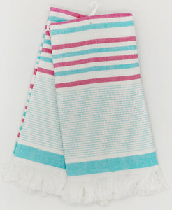 blue and red stripes kitchen tea towel coastal theme with fringe
