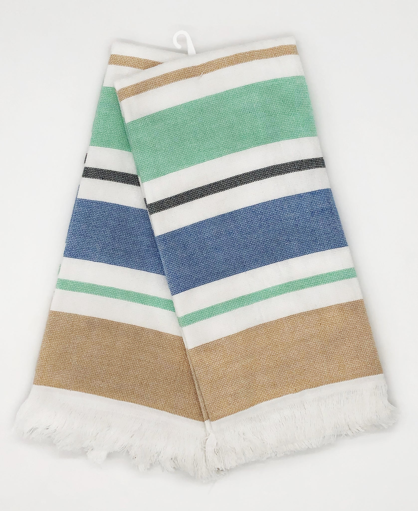 "2 Pack Blue Green Stripe Yarn-dyed Kitchen Towel, 20"" X 28"""