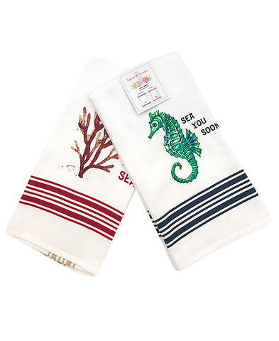 "2 Pack Seahorse Coral Kitchen Towel, 20"" X 28"" Mod Lifestyles"