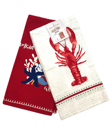 "2 Pack Coral Kitchen Towel, 20"" X 28"" Mod Lifestyles"
