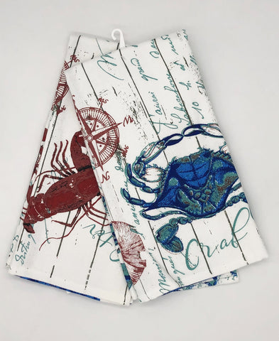LOBSTER AND BLUE CRAB KITCHEN TOWEL