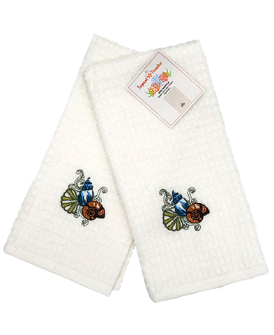 "2 Pack Seashells Embroidery Waffle Terry Towel, 16"" X 24"" Mod Lifestyles"