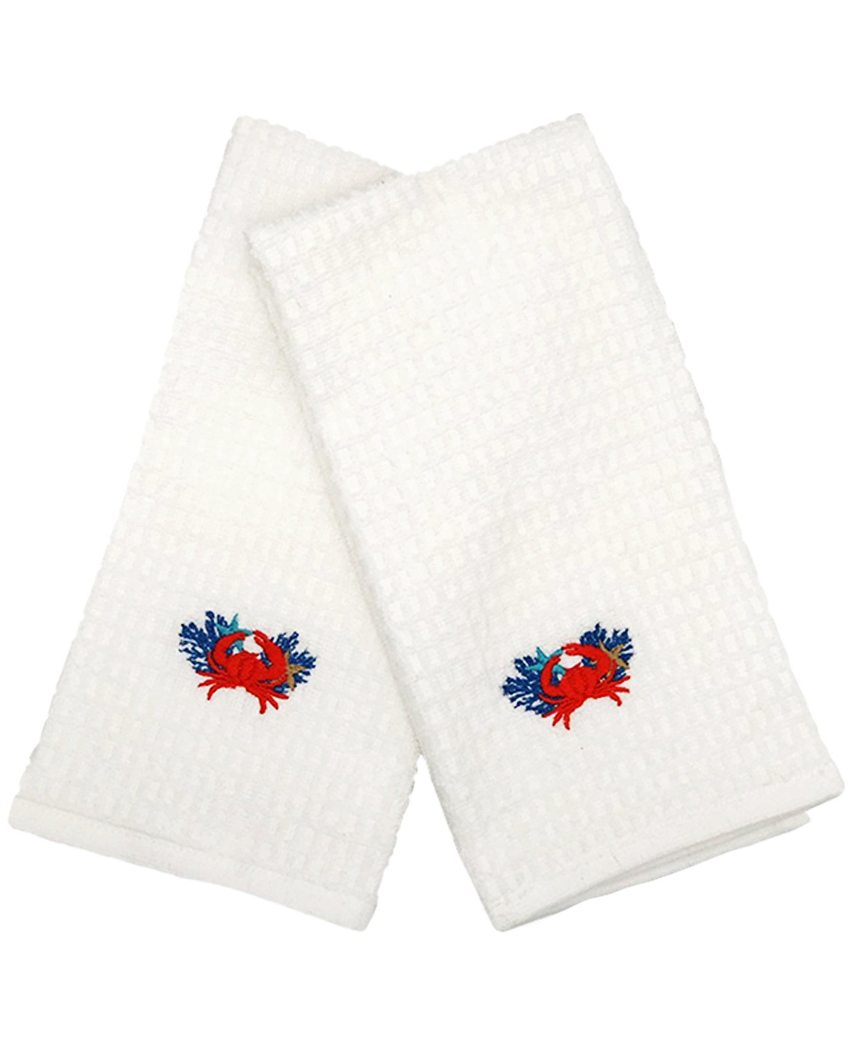 "2 Pack Coral Crab Embroidery Waffle Terry Towel, 16"" X 24"" Mod Lifestyles"