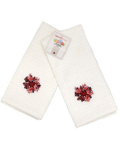 "2 Pack Coral Embroidery Waffle Terry Towel, 16"" X 24"" Mod Lifestyles"