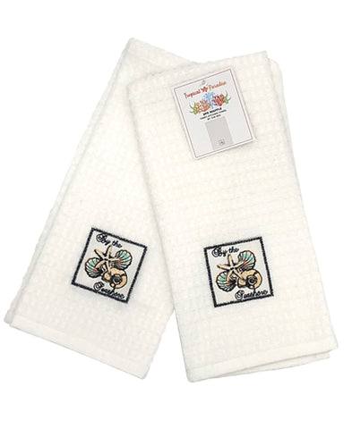 "2 Pack By The Sea Embroidery Waffle Terry Towel, 16"" X 24"" Mod Lifestyles"