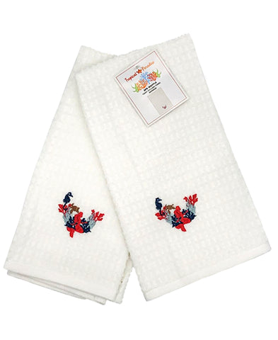 "2 Pack Mermaid Embroidery Waffle Terry Towel, 16"" X 24"" Mod Lifestyles"
