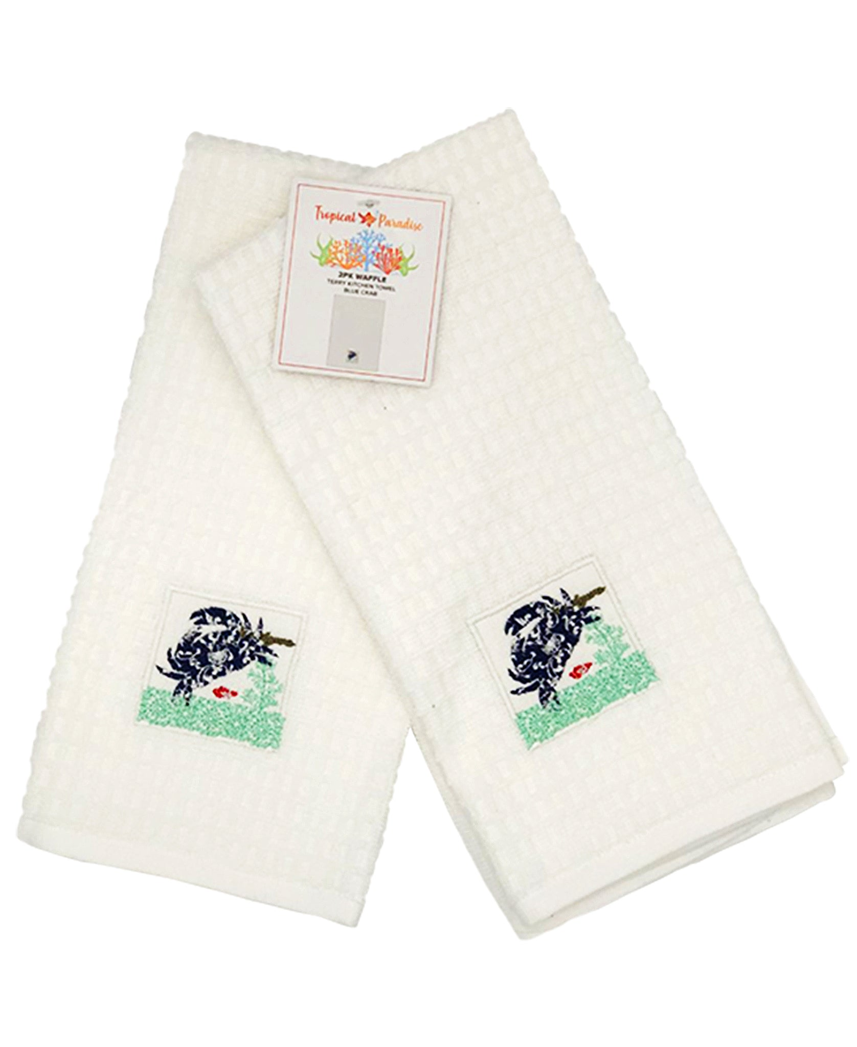 "2 Pack Blue Crab Embroidery Waffle Terry Towel, 16"" X 24"" Mod Lifestyles"