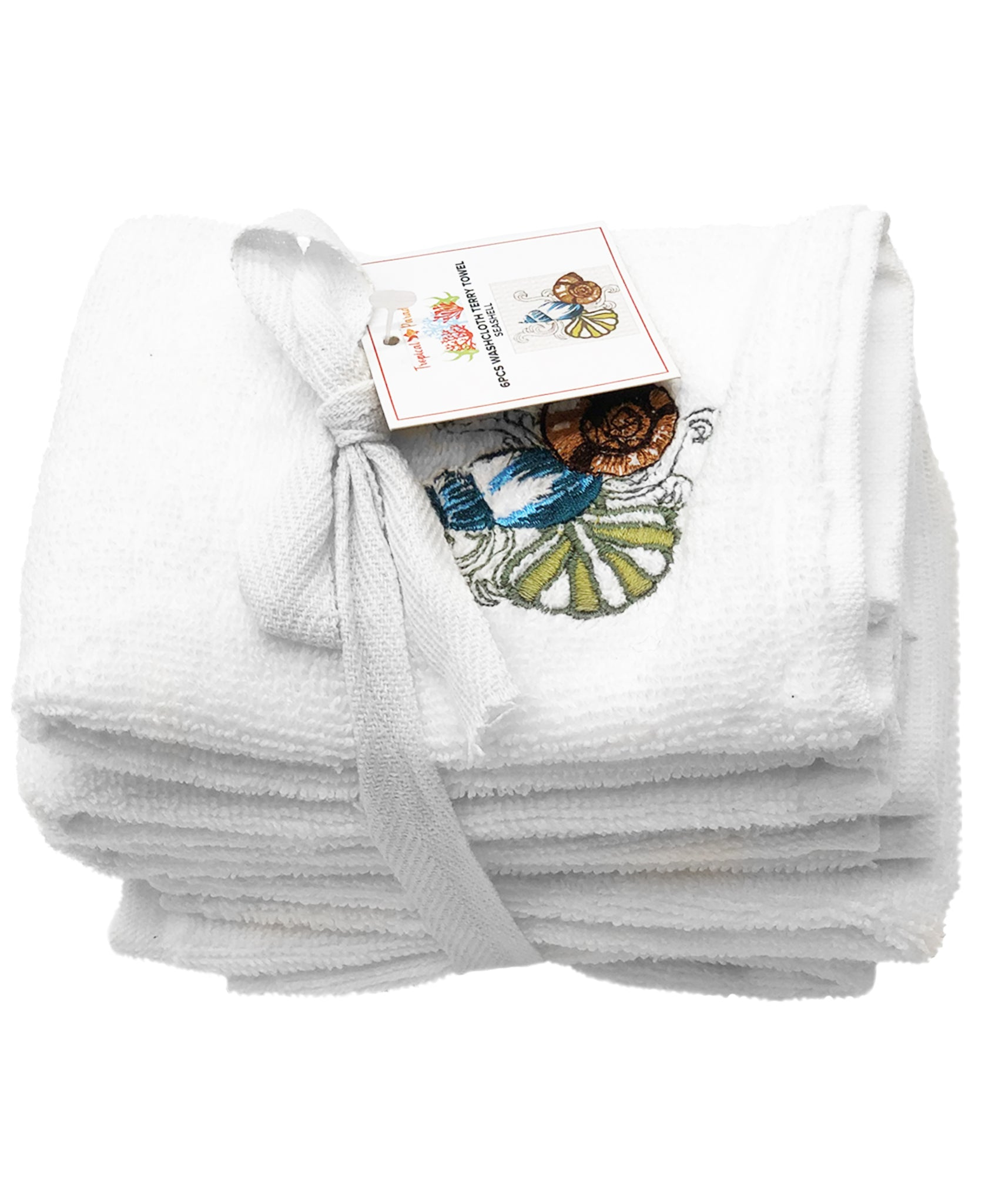 6 PC Seashells Embroidery Terry Towel, 12''x12'' Mod Lifestyles