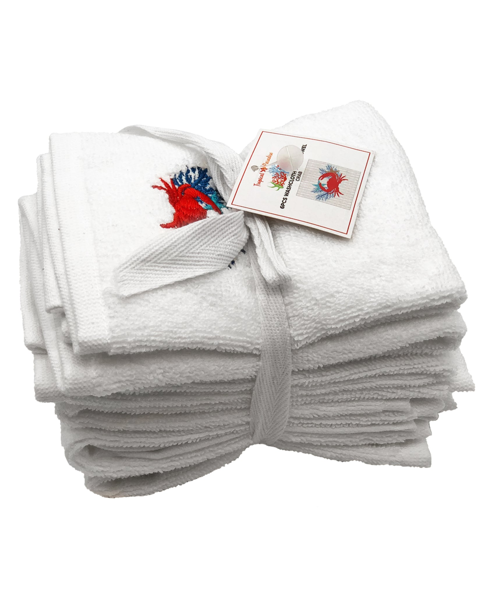 6-pc Coral Crab Embroidery Terry Towel, 12''x 12'' Mod Lifestyles