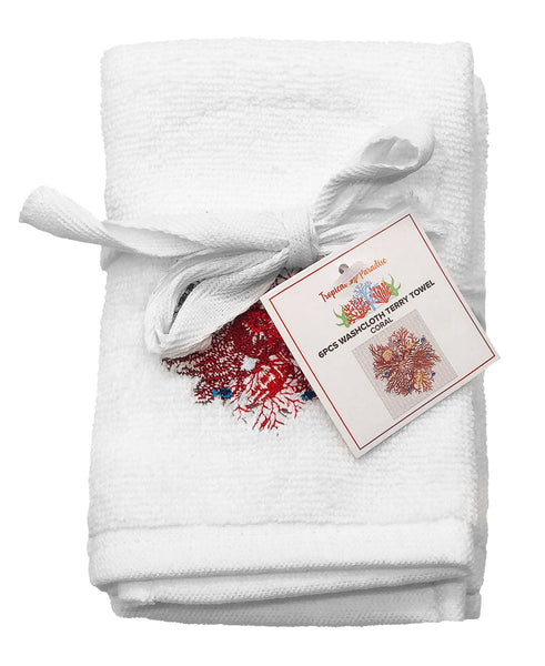 6-pc Coral Embroidery Terry Towel, 12''x 12''