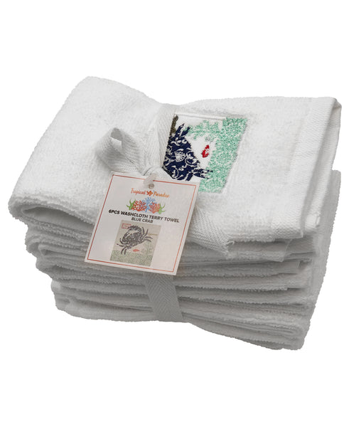 6-pc Blue Crab Embroidery Terry Towel, 12''x 12'' Mod Lifestyles