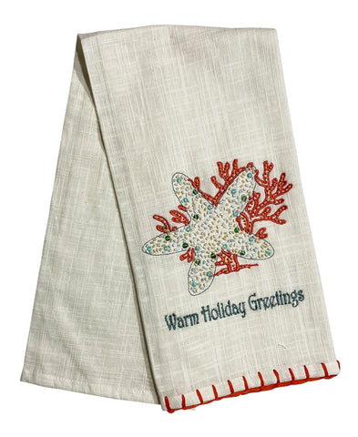"Starfish & Coral Kitchen Towel, 20"" X 28"" Mod Lifestyles"