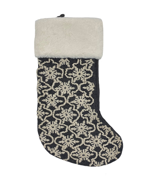 "French Knot Snowflakes Christmas Stocking, 8"" X 22"""