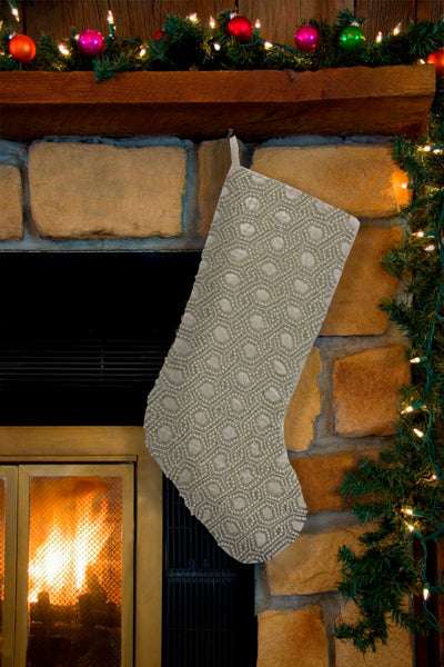 "Ogee Beaded Velvet Christmas Stocking, 8"" X 22"" Mod Lifestyles"